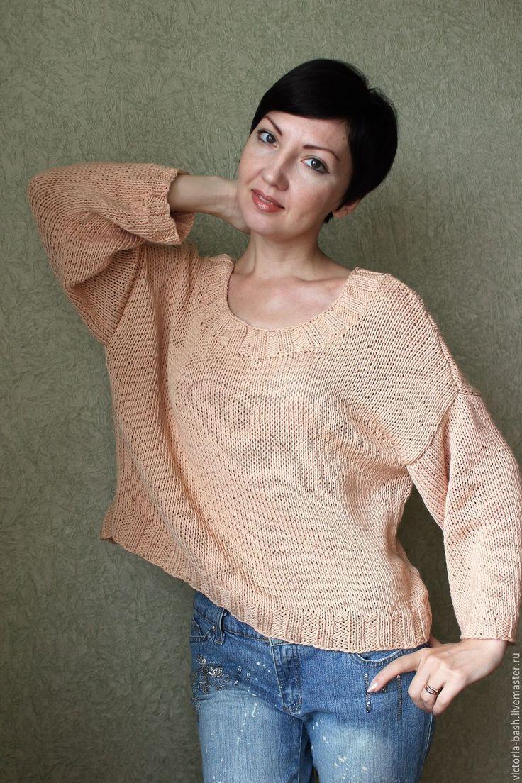 Купить Хлопковый пуловер «Спокойный». - бежевый, пуловер вязаный, свободный крой, бохо, бохо стиль