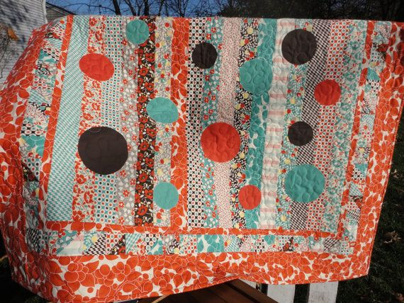 Orange Lap Quilt  Hello Betty Retro  by bluebuttondesigns on Etsy, $120.00