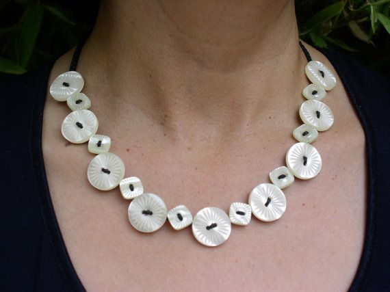 Shiny Bright White Plastic Button Necklace by ObjectsOfTheHeart, $40.00