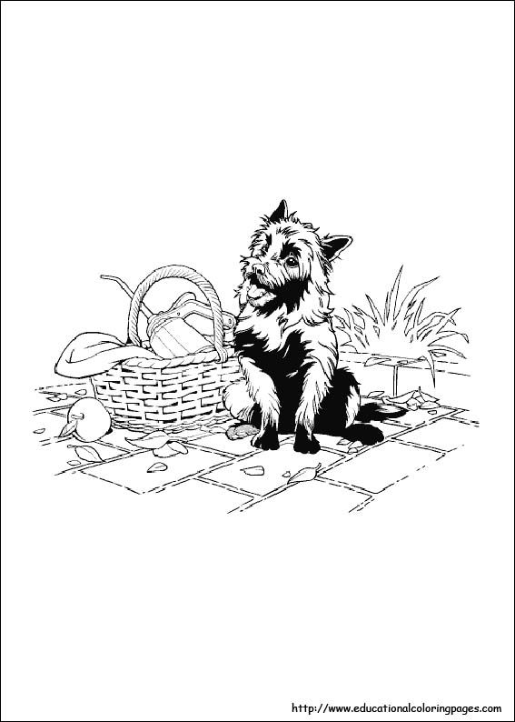 Wizard Of Oz Toto In Basket Coloring Page