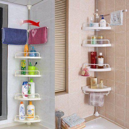 Estink Bathroom Corner Shelf Adjustable 4 Tier White Plastic Tension Corner Pole Caddy Rack Basket For Shampo Shower Shelves Shower Rack Bathroom Corner Shelf