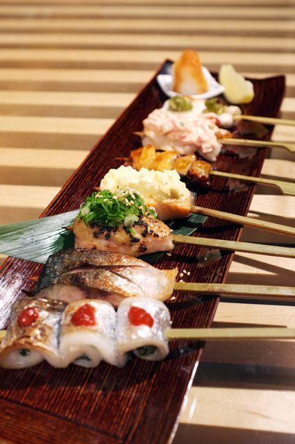 やきうお(7本) 鯖・鯛さび焼・エビ サウザンアイランドソース・タコたれ焼・サーモンタルタルソース・    ハマチ味噌(味噌は自家製)・太刀魚