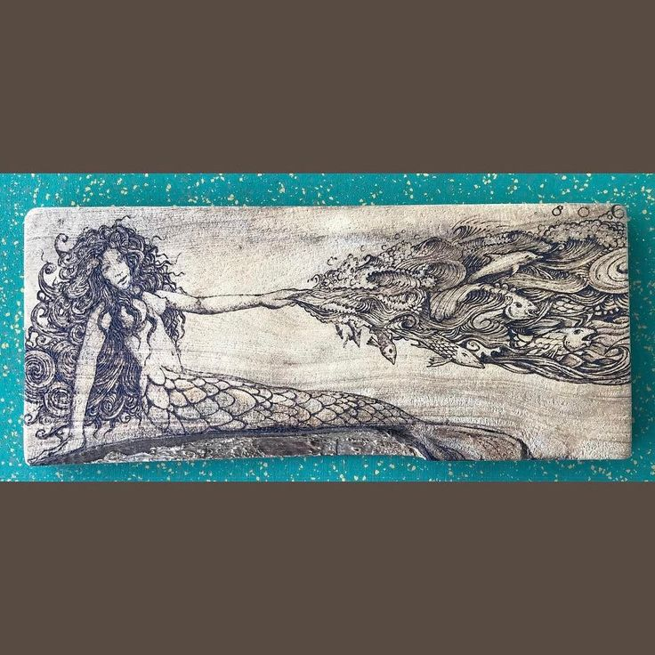#Mermaid #etching on #wood by #artist Antonio Folch found in Old San Juan Puerto Rico #themermaidstudio #mermaids #siren #sirens #island #ocean #beach #seashore #aquatic #nautical #marine #beachlife #oldsanjuan #puertorico #takemetothesea #sea #shore #antoniofolch