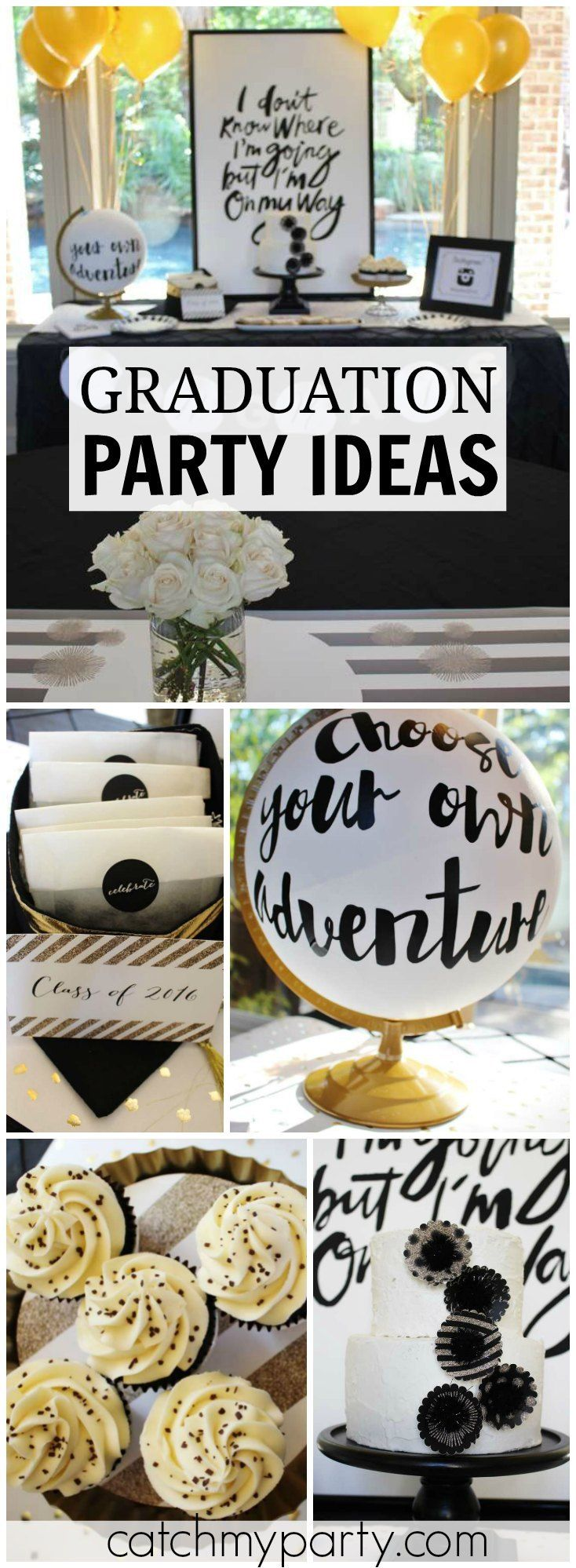 How amazing is this modern black and white graduation party?! See more party ideas at CatchMyParty.com!