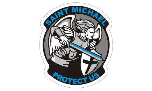 Saint Michael Thin Blue Line Police Sticker / Decal #199