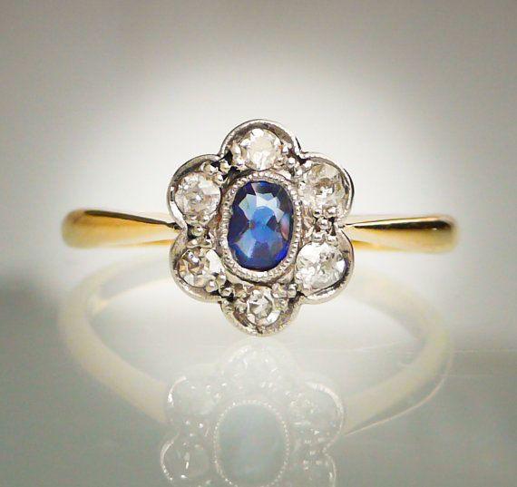 Edwardian Antique 1910s Deep Blue Sapphire and Diamonds
