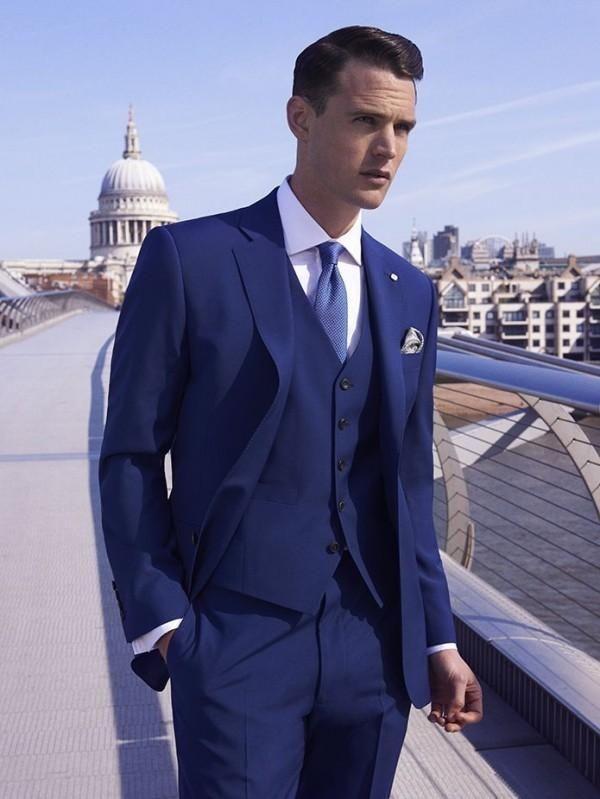 Men Blue 3 Piece Pinstripe Groom Tuxedos Wedding Dinner Prom Party Suit Custom