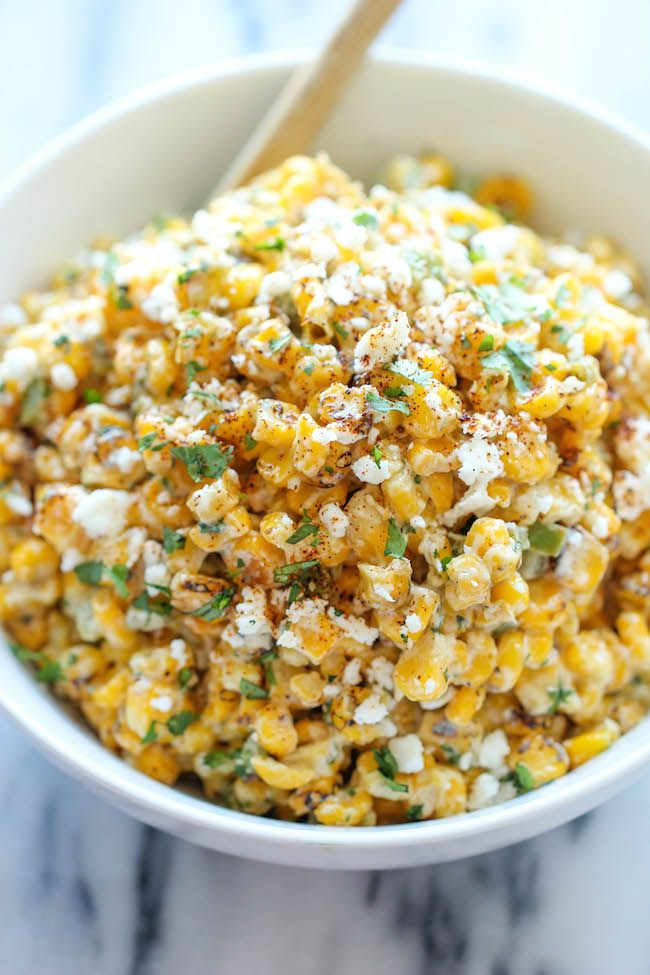 Mexican Corn Dip - The traditional Mexican street corn is turned into the best dip ever. It's so good, you won't even need the chips. Just grab a spoon!