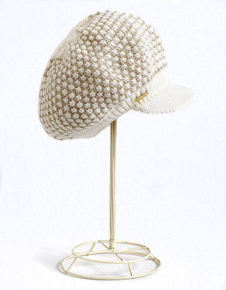 Popcorn stitch peak hat in cream