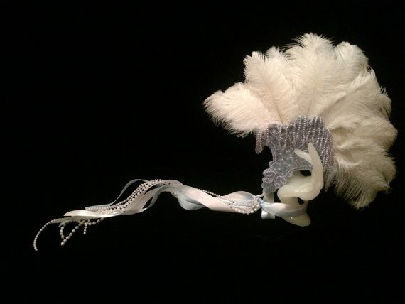 Light Blue and White Beaded Sequin Feather Hand Fan. Burlesque Cabaret Vintage Costume Accessory