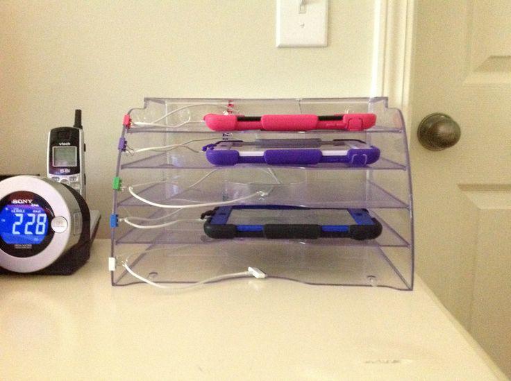 Family Tablet Docking Station. Plastic Rubbermaid Desk Sorter Organizer  (clicku2026