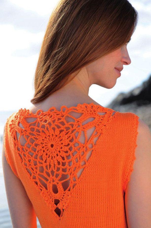Moda em Crochê: Tendência de cor: laranja, Detalhe de crochê, blusa, crochet, ganchillo