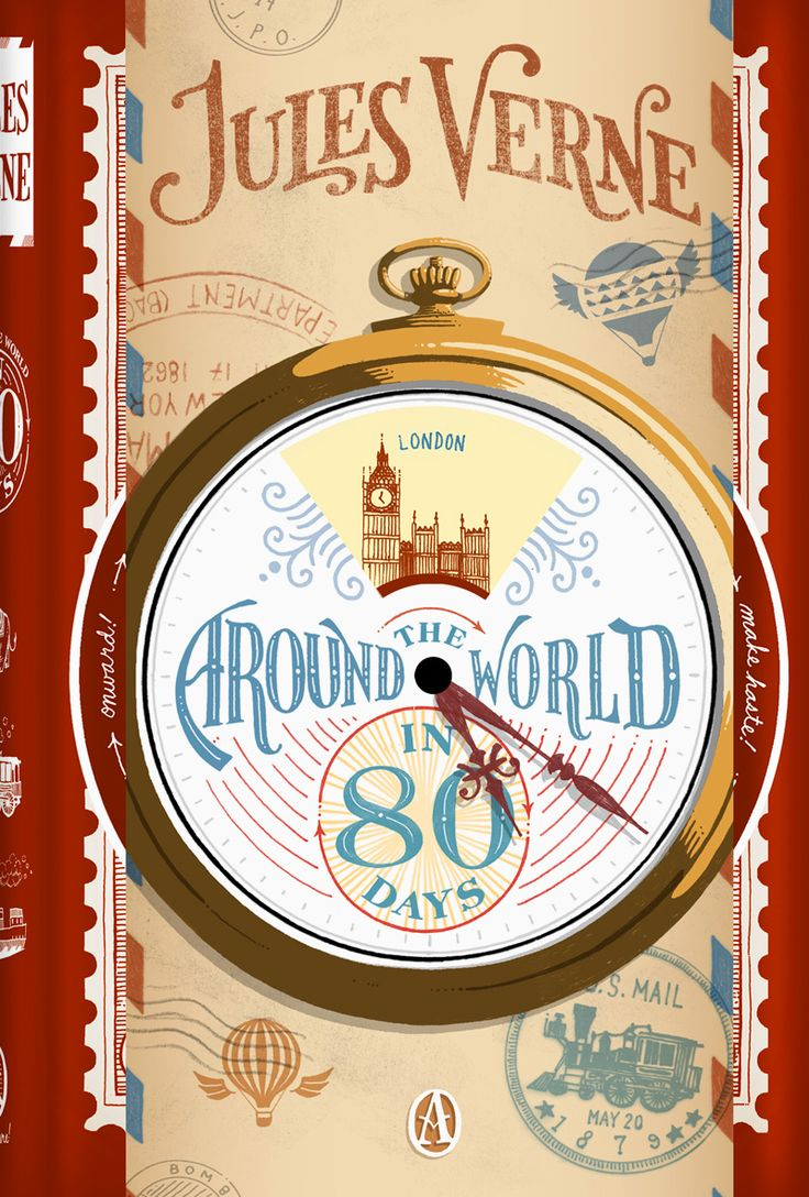 Book Cover Illustration and Hand Lettering for 'Around the World in 80 Days'. © Jim Tierney 2012