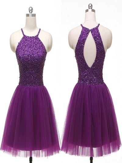 Short homecoming dress,purple beads Homecoming Dress,off shoulder Homecoming Dress,popular homecoming dress,evening party dressPD210197