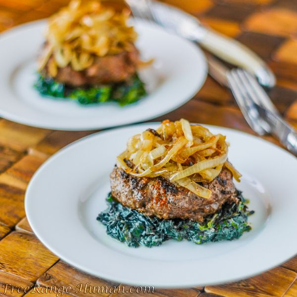 Cajun Burgers with Carmelized Onions and Spinach | Pastured Kitchen