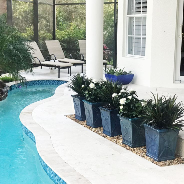 A row of beautiful planters containing artificial outdoor gardenias and liriope  makes for a distinctive space along this Florida lanai pool.