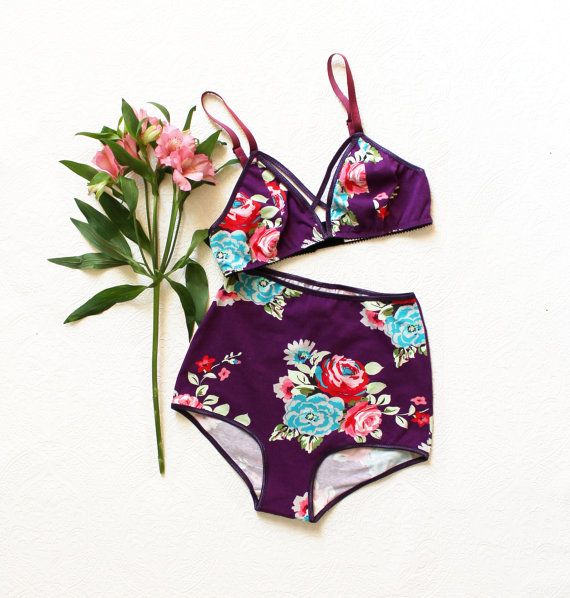 Purple Aqua and Red Floral Cotton 'Sunset' Modern High Waist Knickers and Strappy Triangle Bra Set Handmade to Order