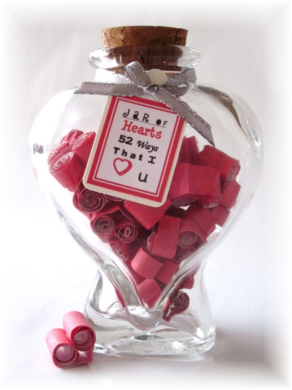 A Jar of Hearts with Love Notes for Him or Her by Rychei on Etsy, $22.95