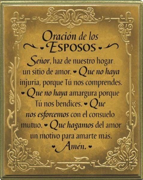 Oracion De Los Esposos Wall Plaque
