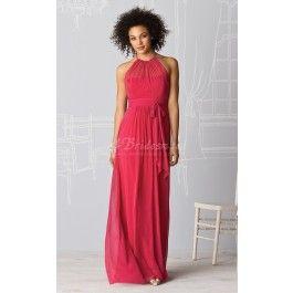 Sheath/Column Halter Velvet Chiffon Floor-length Red Bridesmaid Dresses(BD217.135)Change to Pearl Pink