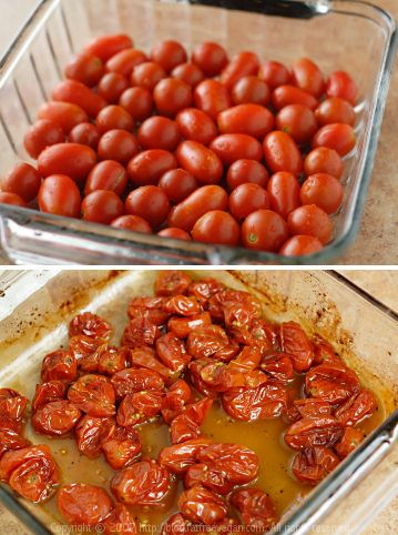 Roasted Grape Tomatoes  Had this over pasta with dinner.  They turned out so sweet, almost too sweet.