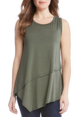 Karen Kane Women's Asymmetric Layer Top - Olive - Xs