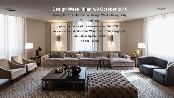 INVITATION * Casamilano opens its showroom in occasion of the 1st edition of Fall Design Week / Design City Milan, 1/9 Oct. 2016, 10am-6pm