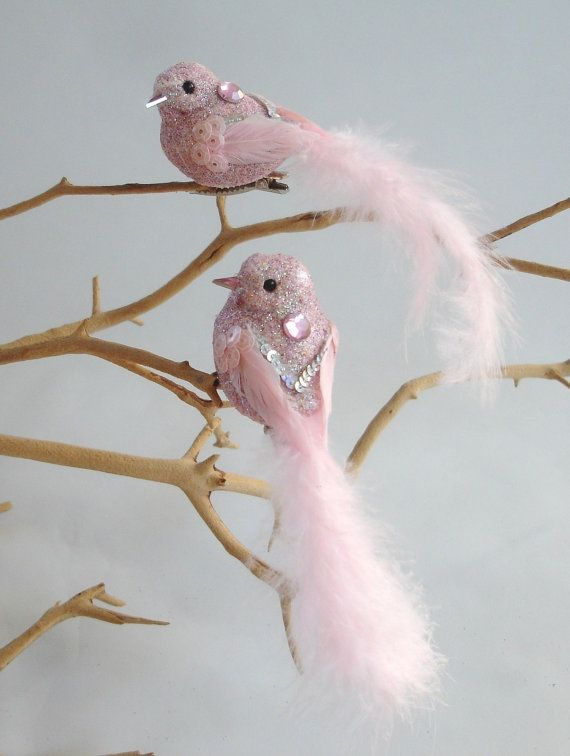 Chic 2 ROSE PINK Sequin Glitter Jewel Love Bird Ornaments~Victorian Xmas Ostrich Feather Tree Shabby Vintage Style Decor Centerpiece Wreath on Etsy, $13.99
