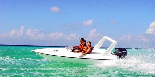 Carnival excursion at Cozumel, Mexico. Speed boat and private island. Very fun.