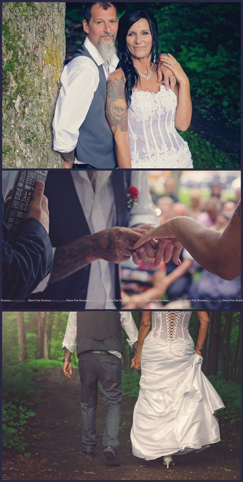 Wedding photography ideas. Married.  Bride. Groom. Pictures. Love. After 30 years. True love. Growing old with you. Older Bride. Rock'n'Roll. Biker. Tattoo Tattooed bride. Original. Love. Photographie mariage. Photos. Couple agé. Motard. Tatoués. Tatou.  grand amour. 30 ans d'attente. Finalement.  Mariée cinquantaine. quarantaine