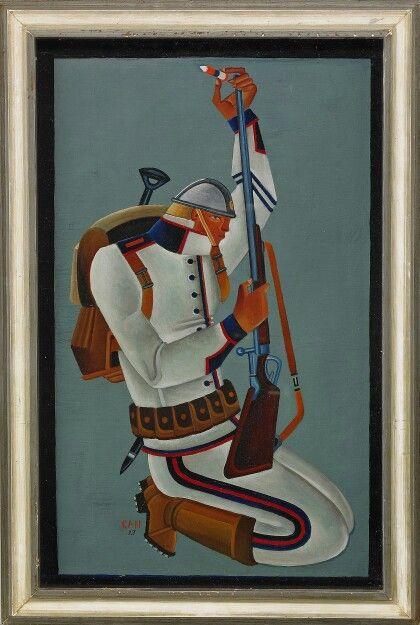 Knäböjande soldat Signerad och daterad GAN -27. Olja på pannå, 53,5 x 33,5 cm.