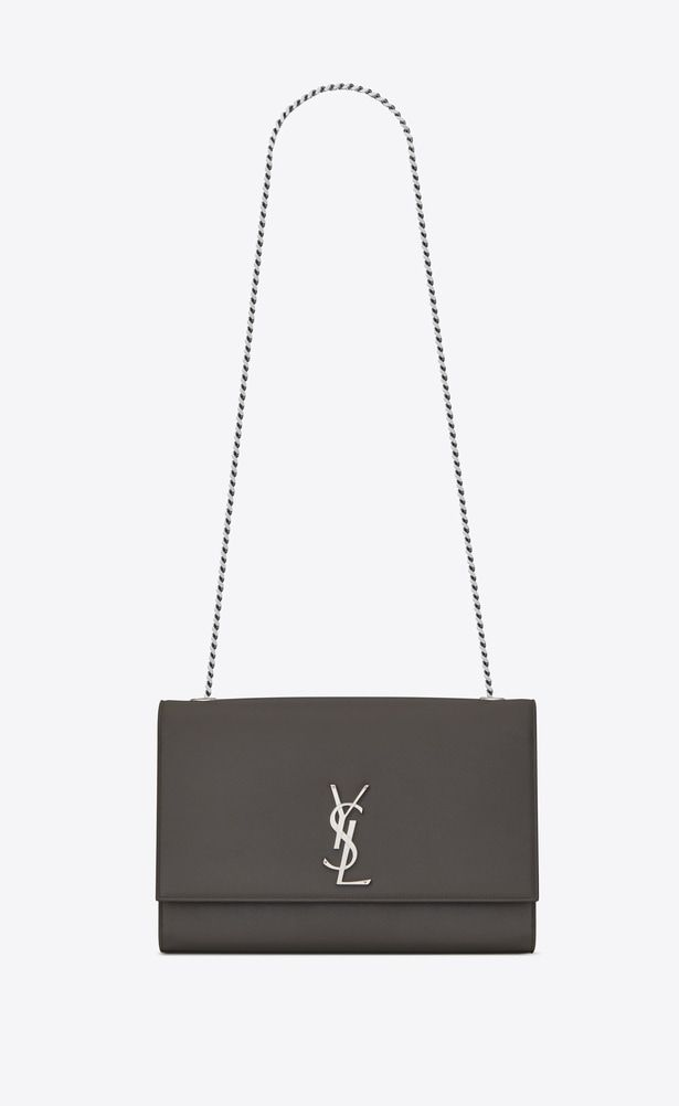 06275d15d087 SAINT LAURENT MONOGRAM KATE Woman large kate chain bag in grey textured  leather a V4