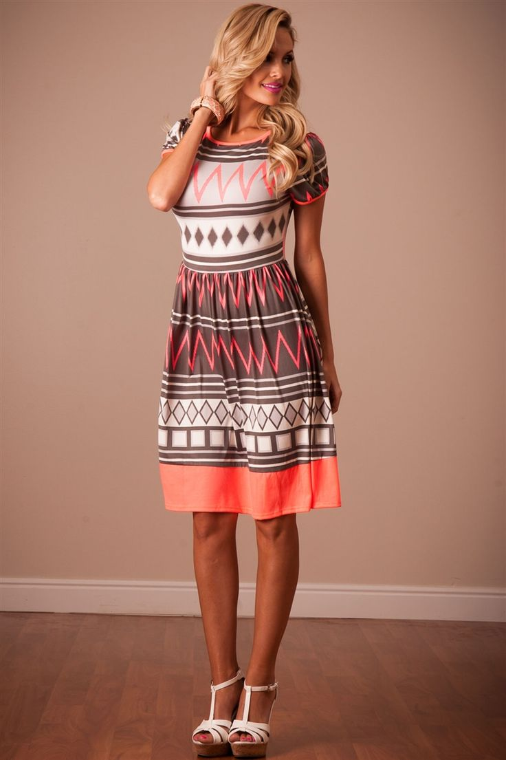 Neon Coral Summer Dress | Affordable Modest Boutique Clothes for Women | Trendy Modest Church Dresses for Women