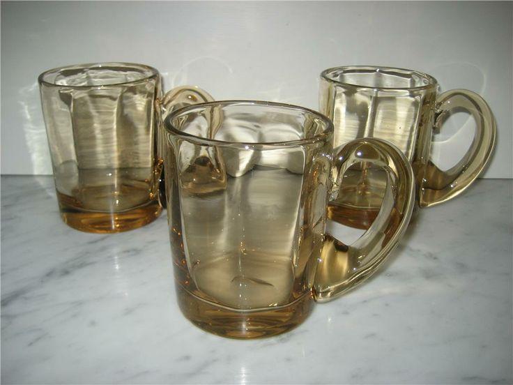 3 st Ölsejdlar/Ölglas/Muggar i glas, slipad puntel GAMLA! på Tradera