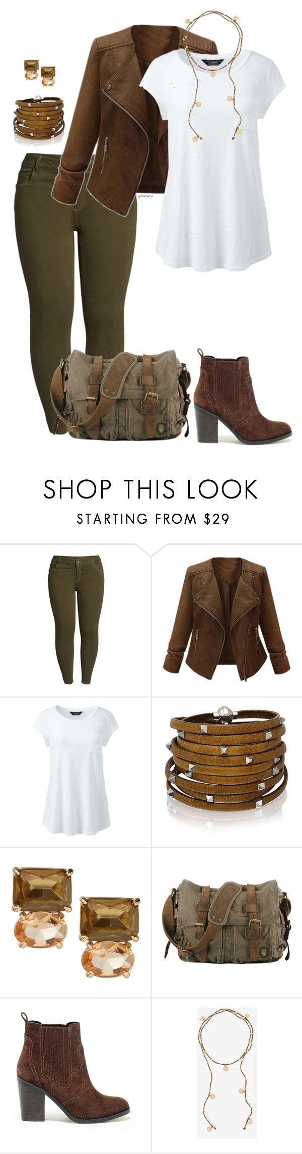 """""""Easy day- plus size"""" by gchamama ❤ liked on Polyvore featuring KUT from the Kloth, Lands' End, Sif Jakobs Jewellery, Sole Society, White House Black Market and plus size clothing"""