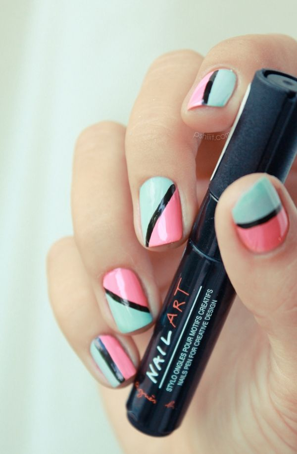Essie Mint Candy Apple and Butter London Trout Pout with Black nail art pen