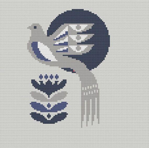 Danish Bird Cross Stitch Pattern PDF Pillow by WallflowerCushions, $5.00