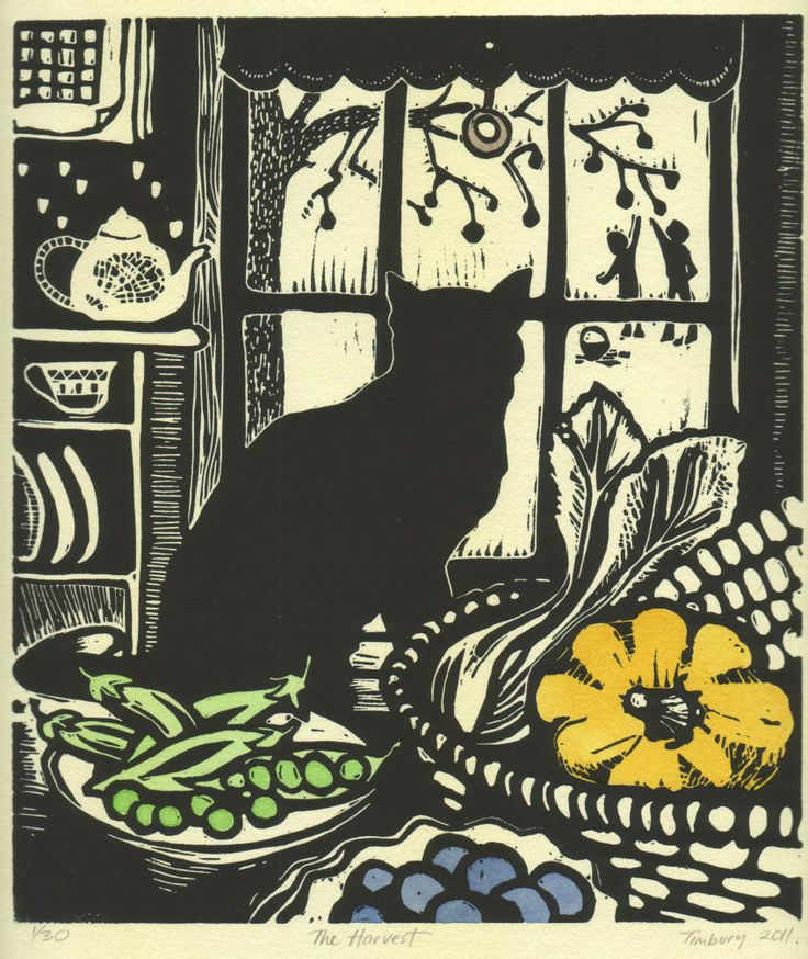 "Helen Timbury - ""The harvest"", 2011 - Linocut … More"