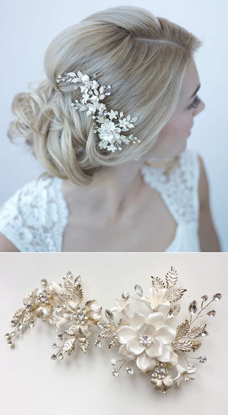 Gorgeous gold bridal comb with ivory flower petals and gold leaves. So…