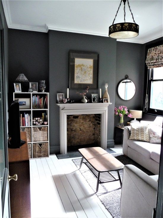 Snug TV room. Dark grey walls. See blog for details. White painted floor boards.