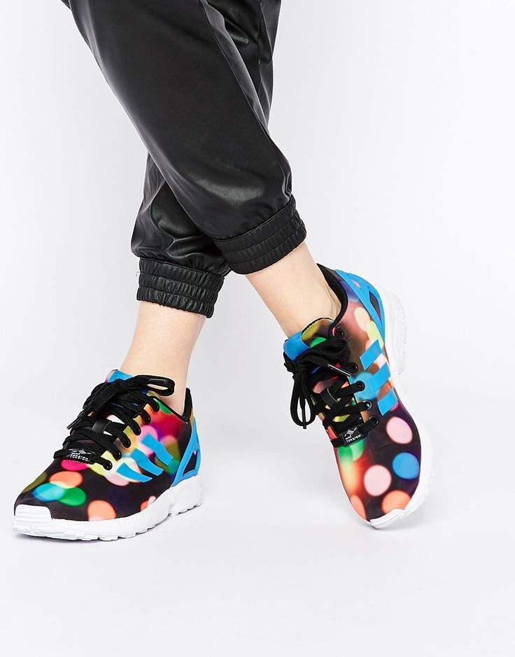buy online f0f63 1a9e3 ... Negro Verde Rojo Image 1 of adidas Originals ZX Flux Multi Colored  Bubble Dot Sneakers ...