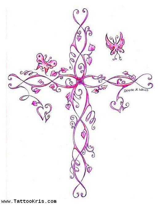 tattoos for women | Vine Cross Tattoos For Women 1