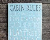 Cabin Rules Typography Art Sign Distressed Subway by WordWhipped