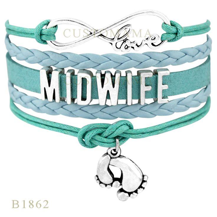 (10 pcs/lot) Infinity Love Midwife Feet Charm Bracelet Gifts Women Bracelets Black Wax Suede Leather Custom Bracelets