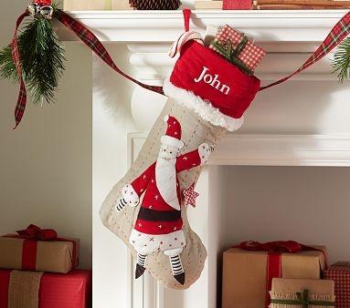 Santa Woodland Linen Stocking #PotteryBarnKids Christmas Stockings