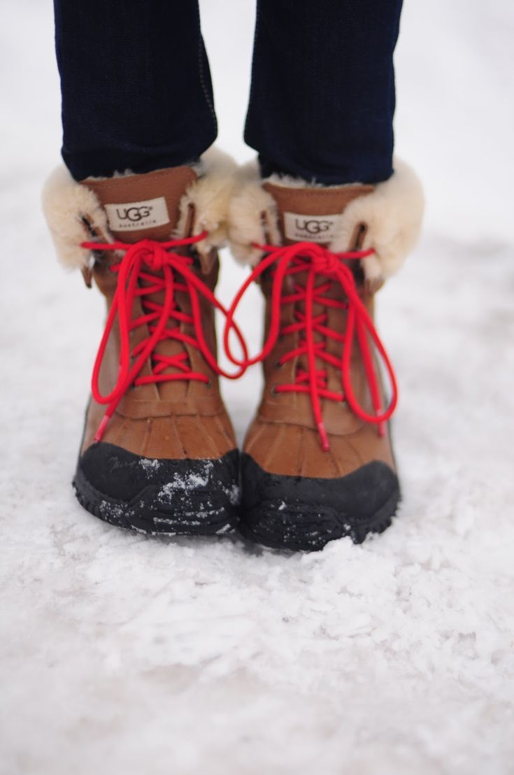 UGG SNOW BOOTS -my fav bella boots, wih added red laces..i might need to get some of these! ;)