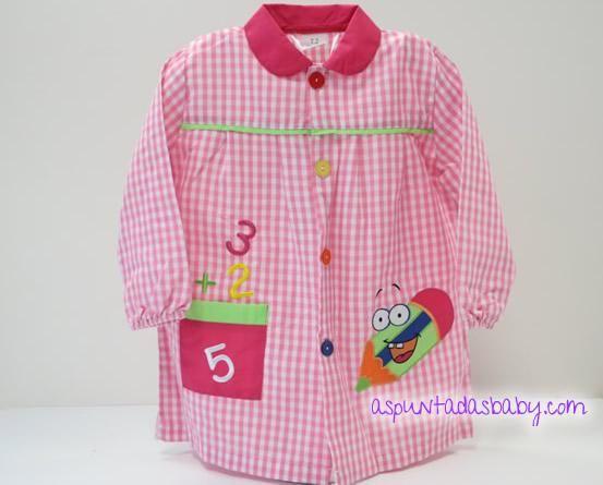 "Bata escolar mod. Lápiz color rosa. 14.90€ + Bordado nombre ""GRATIS"""