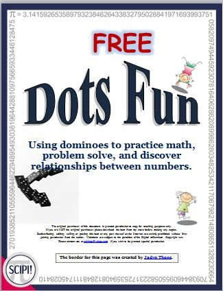 The FREE Dots Fun primary resource is a 10 page booklet containing three different math activities and one game that uses dominoes for activities ranging from adding, to problem solving, to Topsy Turvy subtraction problems. These activities are appropriate for the visual and/or kinesthetic learner. They are suitable for a math center, for differentiated instruction, as well as for introducing or reviewing a math concept.