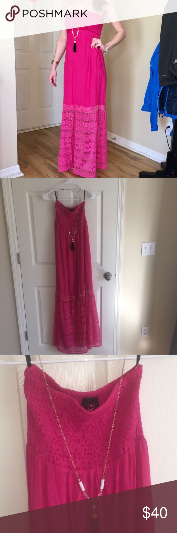 Bebe Magenta Pink Smocked Lace Maxi Dress Small Bebe Magenta Pink Smocked Lace Maxi Dress Small fits 0-4. I'm modeling it at 5'6 and it fits me perfectly. Stretchy smocked top. Lace is sheer from the knee down. Excellent, like new condition. 💐Bundle & save 20%. bebe Dresses Maxi