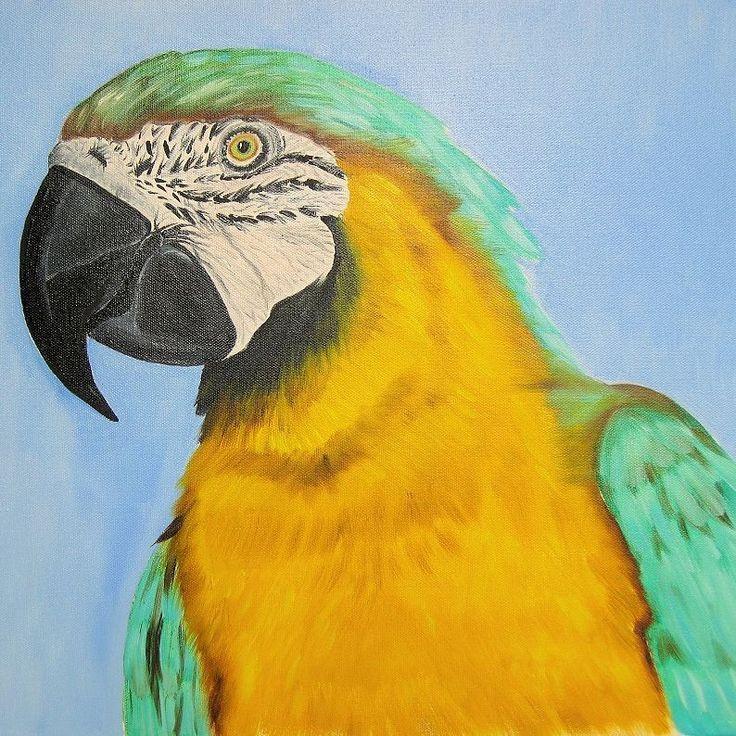 """- Ай! - Что значит твоё """"ай""""? - Меня обругал попугай. - И ты его обругай. (О. Григорьев) . . """"Сине-жёлтый ара"""". Холст, масло. 50 x 40 см. 20"""" x 16""""."""